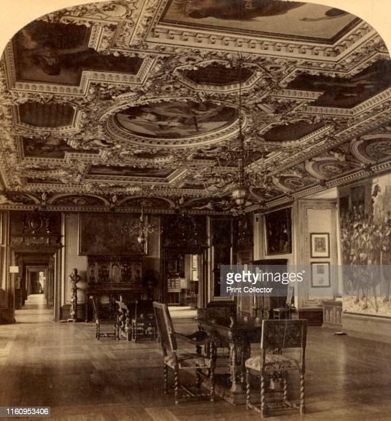 'Grand Dining Hall, Frederiksborg Castle, Denmark', 1897. Interior with ornate ceiling. Stereocard. [Strohmeyer & Wyman, New York, 1897]. Artist...