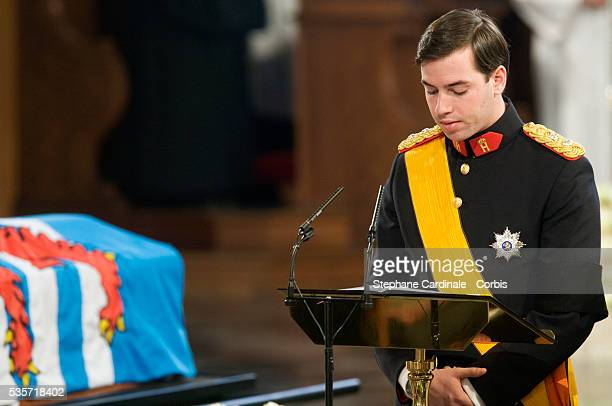 HRH Grand Duc Guillaume of Luxembourg during the funeral of Grand Duchess of Luxembourg JosephineCharlotte daughter of former Belgian King Leopold...