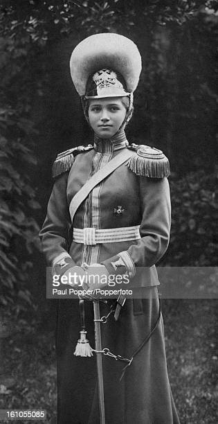 Grand Duchess Maria Nikolaevna of Russia in uniform as Colonel-in-Chief of the Russian Horse Grenadiers, 1914. She is the third daughter of Tsar...