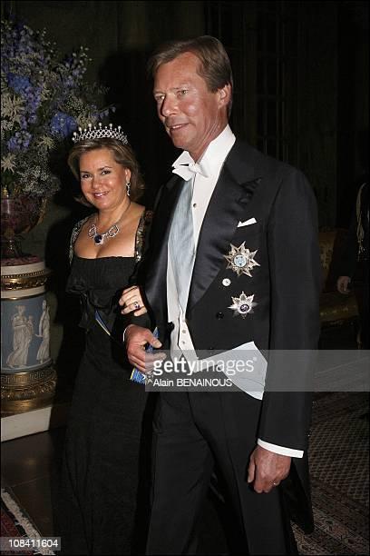 Grand Duchess Maria Teresa and Grand Duke Henri of Luxembourg in Stockholm Sweden on April 30 2006
