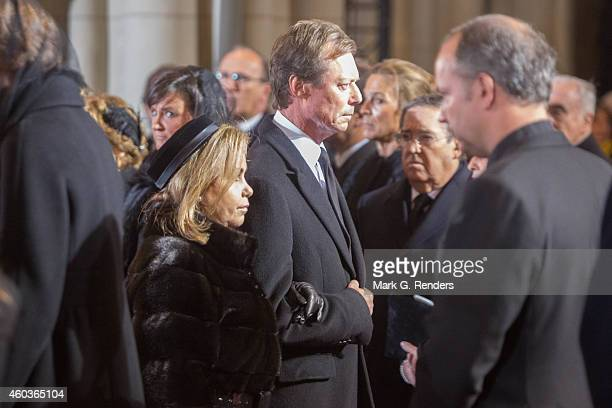 Grand Duchess Maria Teresa and Grand Duke Henry of Luxembourg attend the funeral of Queen Fabiola of Belgium at Notre Dame Church on December 12 2014...