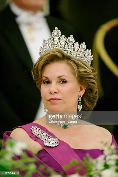 Grand Duchess Maria Teresa attends a gala dinner at Laeken castle