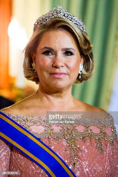 Grand Duchess Maria Teresa during the official picture at the state banquet in the Grand Ducal Palace on May 23, 2018 in Luxembourg, Luxembourg. The...