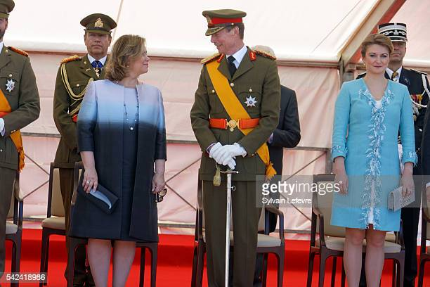 Grand Duchess Maria Teresa Grand Duke Henri of Luxembourg and Princess Stephanie of Luxembourg during the Military parade for celebration of National...