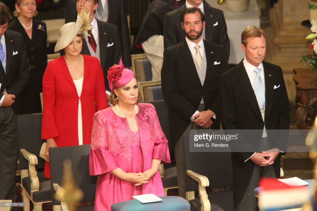 Grand Duchess Maria Teresa, Grand Duke Henri, Princess Stephanie and Prince Guillome of Luxembourg attend the Te Deum for National Day on June 23, 2014 in Luxembourg, Luxembourg.