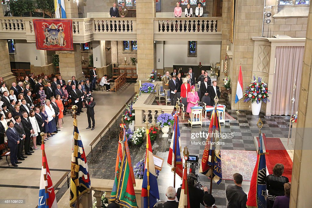 Grand Duchess Maria Teresa, Grand Duke Henri, Princess Stephanie, Prince Guillome, Prince Sebastien, Prince Louis and Prince Felix of Luxembourg attend the Te Deum for National Day on June 23, 2014 in Luxembourg, Luxembourg.
