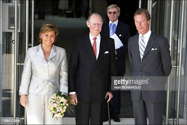 Grand Duchess Maria Teresa Grand Duke Jean and Grand Duke Henri of Luxembourg Surrounded by the personalities invited to attend celebrations marking...