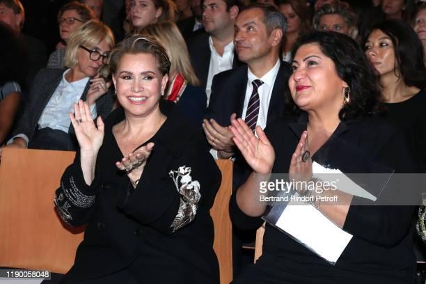 Grand Duchess Maria Teresa of Luxembourg and Chekeba Hachemi attend the Prix de la Femme d'Influence de l'Annee at Palais Brongniart on November 25...