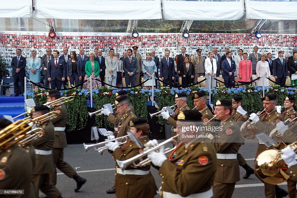 Grand Duchess Maria Teresa of Luxembourg and Grand Duke Henri of Luxembourg and family celebrate National Day on June 21, 2016 in Luxembourg, Luxembourg.