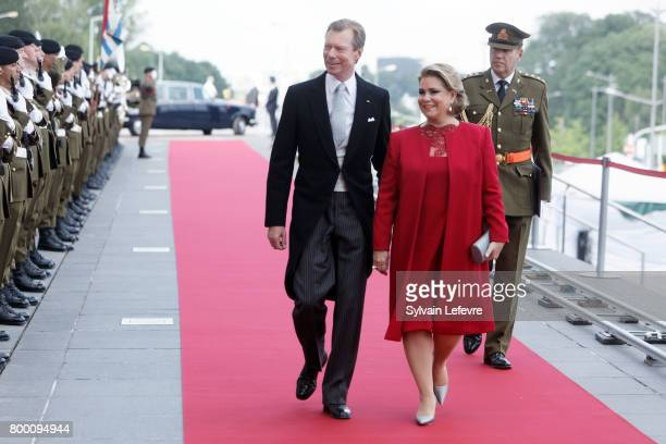 Grand Duchess Maria Teresa of Luxembourg and Grand Duke Henri of Luxembourg arrive at Luxembourg Philarmonie hall for official reception of National...