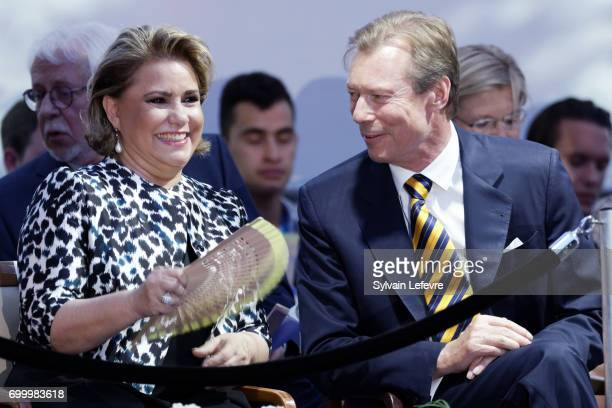 Grand Duchess Maria Teresa of Luxembourg and Grand Duke Henri of Luxembourg attend celebrations of National Day on June 22 2017 in Luxembourg...
