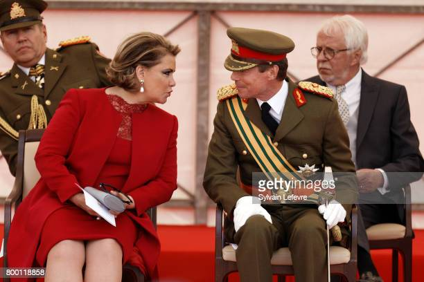 Grand Duchess Maria Teresa of Luxembourg and Grand Duke Henri of Luxembourg attend National Day parade on June 23 2017 in Luxembourg Luxembourg