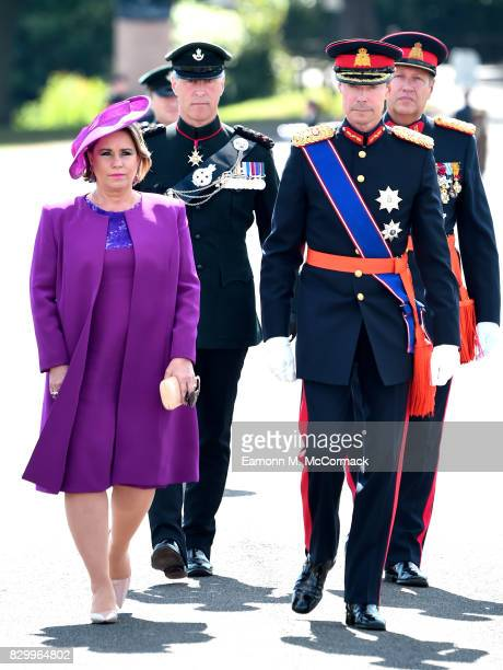 Grand Duchess Maria Teresa of Luxembourg and Grand Duke Henri of Luxembourg attend the Sovereign's Parade at the Royal Military Academy Sandhurst on...