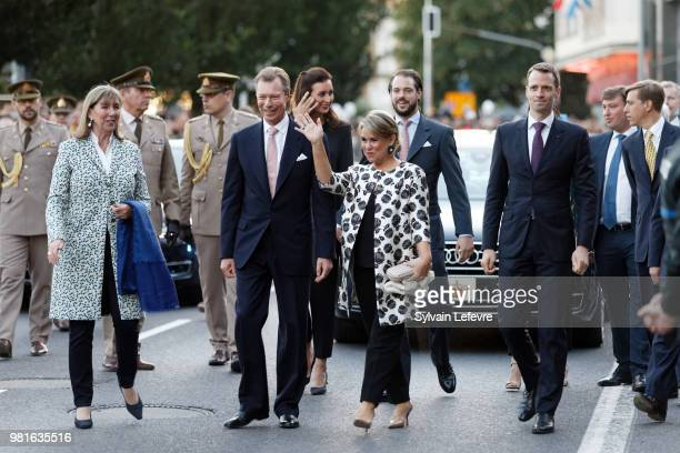 Grand Duchess Maria Teresa of Luxembourg and Grand Duke Henri of Luxembourg celebrate National Dayon June 22, 2018 in Luxembourg, Luxembourg.
