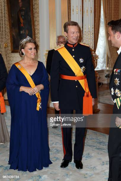 Grand Duchess Maria Teresa of Luxembourg and Grand Duke Henri of Luxembourg attend the official dinner for National Day at the ducal palace on June...