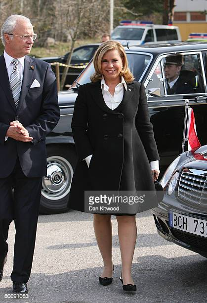 Grand Duchess Maria Teresa of Luxembourg and King Carl XVI Gustaf of Swedenvisit Tallbohovskolan a school outside Stockholm on the second day of a...