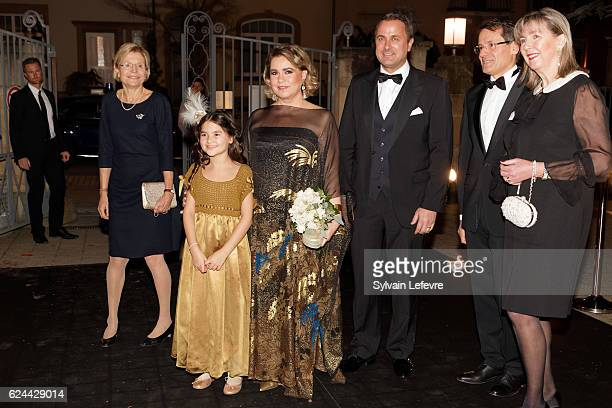 Grand Duchess Maria Teresa of Luxembourg and Luxembourg Prime Minister Xavier Bettel arrive for the 20th Luxembourg Red Cross Ball Gala on November...