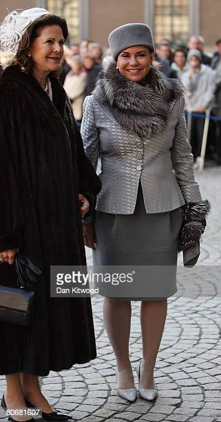Grand Duchess Maria Teresa of Luxembourg and Queen Silvia of Sweden arrive at the Royal Palace on the first day of a three day state visit to...