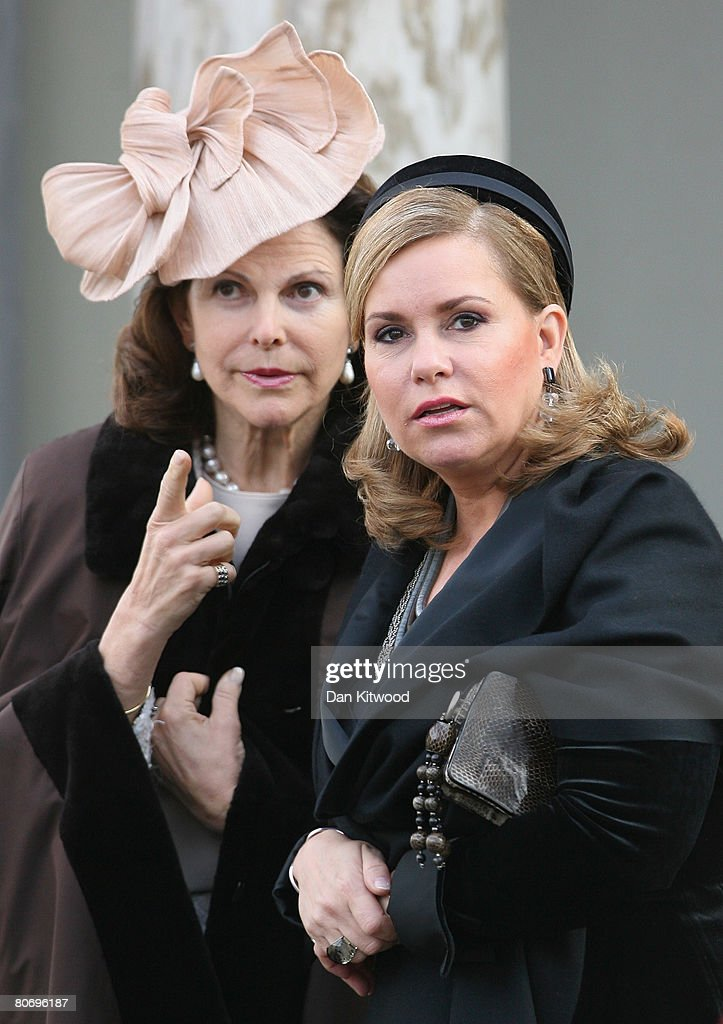 Grand Duchess Maria Teresa of Luxembourg (R) and Queen Silvia (R) of Sweden arrives to visit Gustav III's Pavillion at Haga Park in Stockholm on the second day of a three day state visit on April 16, 2008 in Stockholm, Sweden