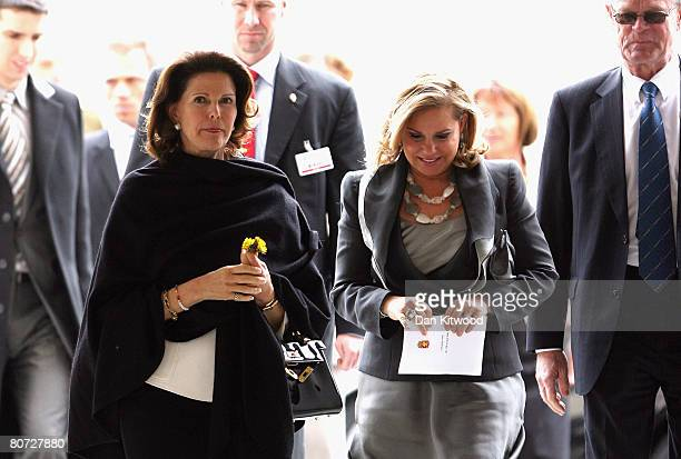 Grand Duchess Maria Teresa of Luxembourg and Queen Silvia of Sweden arrive for a luncheon at Linkoping Castle on April 17 2008 in Linkoping Sweden...