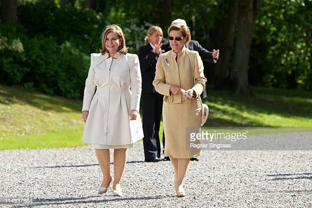 Grand Duchess Maria Teresa of Luxembourg and Queen Sonja of Norway visit the Oscarshall summer palace on May 30 2011 in Oslo Norway
