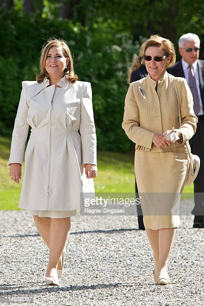 Grand Duchess Maria Teresa of Luxembourg and Queen Sonja of Norway visit the Oscarshall summer palace on the first day of the Luxembourgian state...