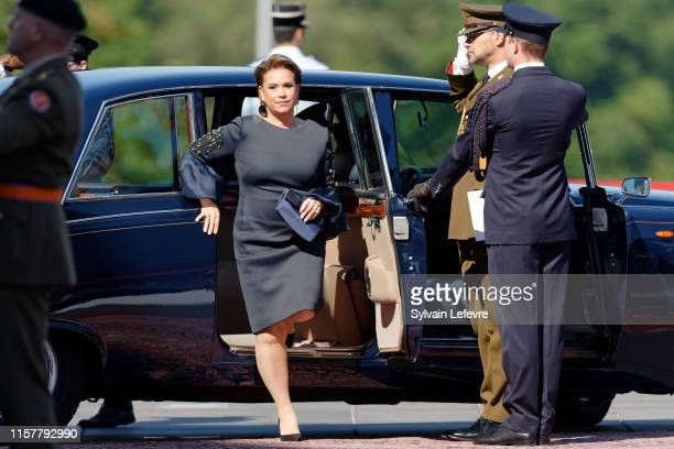 Grand Duchess Maria Teresa of Luxembourg arrives at the Philharmonie for the concert on the National Day on June 23 2019 in Luxembourg Luxembourg