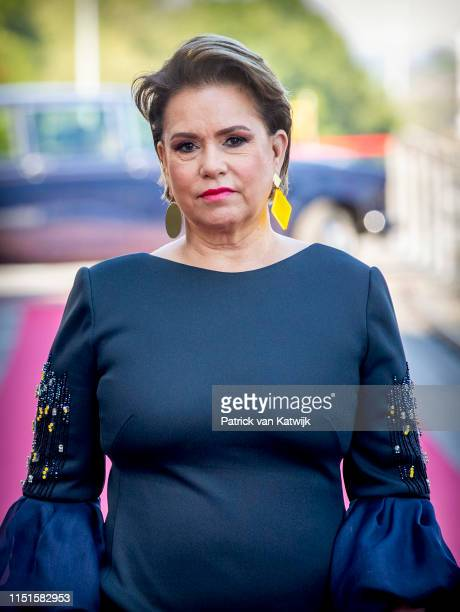 Grand Duchess Maria Teresa of Luxembourg arrives at the Philiarmonie for the concert on the National Day on June 23, 2019 in Luxembourg, Luxembourg.