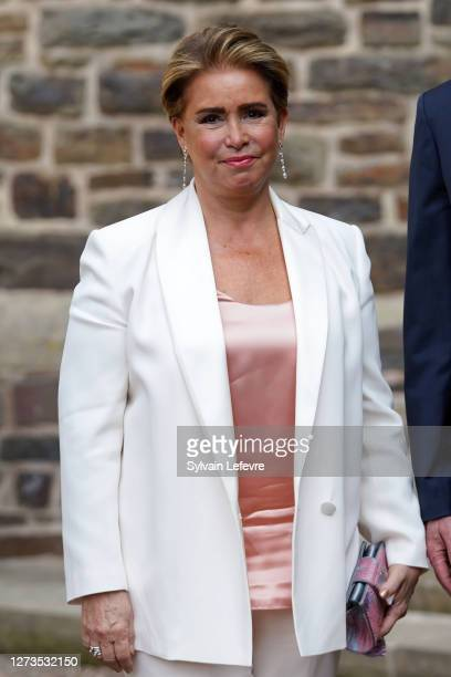 Grand Duchess Maria Teresa of Luxembourg arrives for the baptism of Prince Charles of Luxembourg at l'Abbaye St Maurice on September 19, 2020 in...