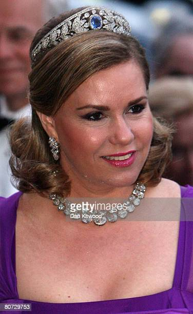 Grand Duchess Maria Teresa of Luxembourg arrives to a concert and reception at the Nordic Museum in Stockholm on the second day of a three day state...