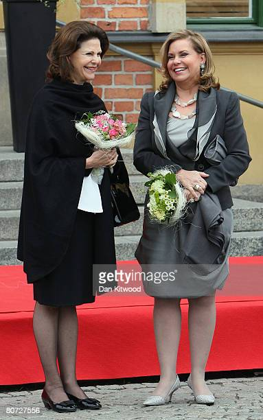 Grand Duchess Maria Teresa of Luxembourg arrives with Queen Silvia of Sweden at Linkoping Train Station on April 17 2008 in Linkoping Sweden The...