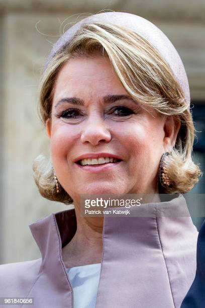 Grand Duchess Maria Teresa of Luxembourg at the Grand Ducal Palace on May 23 2018 in Luxembourg Luxembourg The Dutch King and Queen are in Luxembourg...