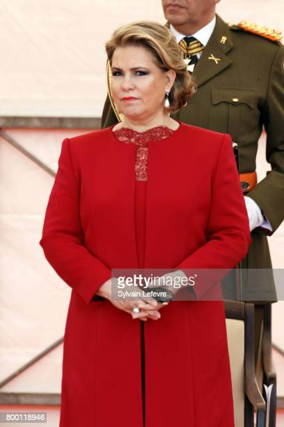 Grand Duchess Maria Teresa of Luxembourg attends National Day parade on June 23 2017 in Luxembourg Luxembourg