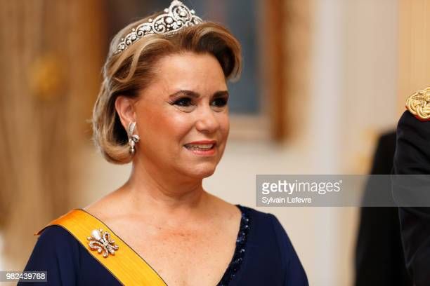 Grand Duchess Maria Teresa of Luxembourg attends the official dinner for National Day at the ducal palace on June 23 2018 in Luxembourg Luxembourg