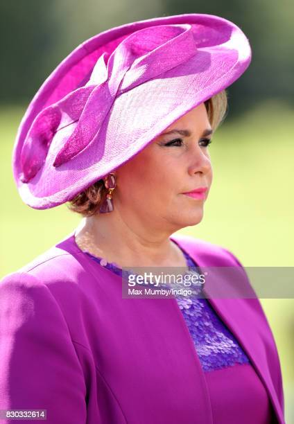 Grand Duchess Maria Teresa of Luxembourg attends the Sovereign's Parade at the Royal Military Academy Sandhurst on August 11 2017 in Camberley...