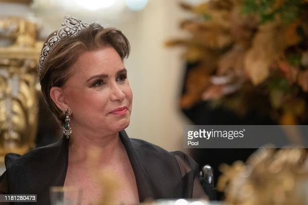 Grand Duchess Maria Teresa of Luxembourg attends the State Banquet on the first day of the State Visit to Luxembourg on October 15 2019 in Luxembourg