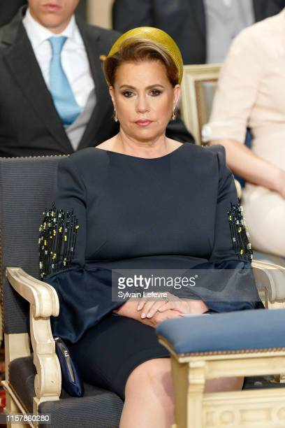 Grand Duchess Maria Teresa of Luxembourg attends the Te Deum thanksgiving mass in the Cathedral on the National Day on June 23, 2019 in Luxembourg,...