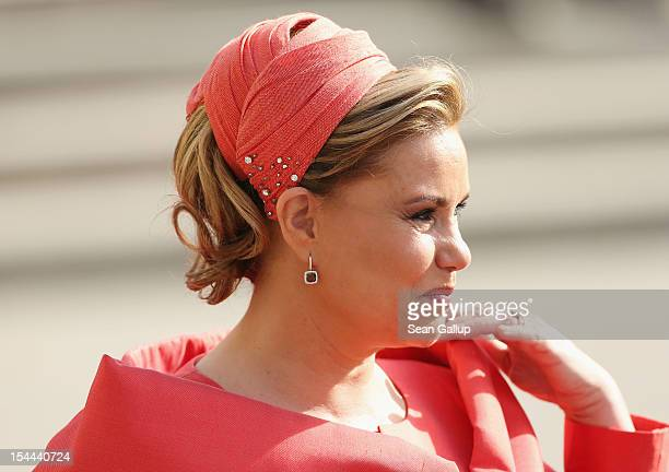 Grand Duchess Maria Teresa of Luxembourg attends the wedding ceremony of Prince Guillaume Of Luxembourg and Princess Stephanie of Luxembourg at the...