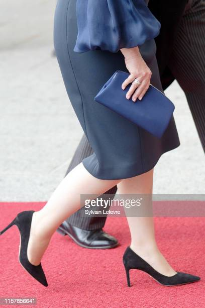 Grand Duchess Maria Teresa of Luxembourg bag and shoe detail arrives for the Te Deum thanksgiving mass in the Cathedral on the National Day on June...