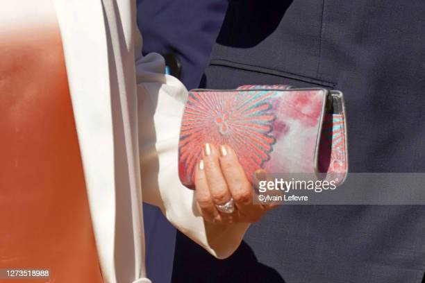 Grand Duchess Maria Teresa of Luxembourg, bag detail, arrives for the baptism of Prince Charles of Luxembourg at l'Abbaye St Maurice on September 19,...
