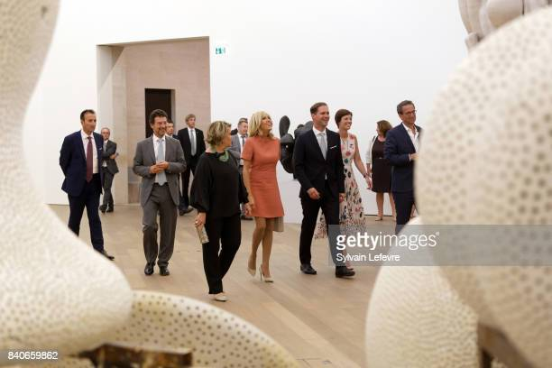 Grand Duchess Maria Teresa of Luxembourg Brigitte MacronTrogneux France's first lady Luxembourg Prime Minister's husband Gauthier Destenay and...