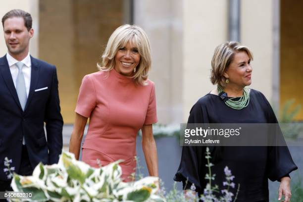 Grand Duchess Maria Teresa of Luxembourg Brigitte MacronTrogneux France's first lady Luxembourg Prime Minister's husband Gauthier Destenay visit...