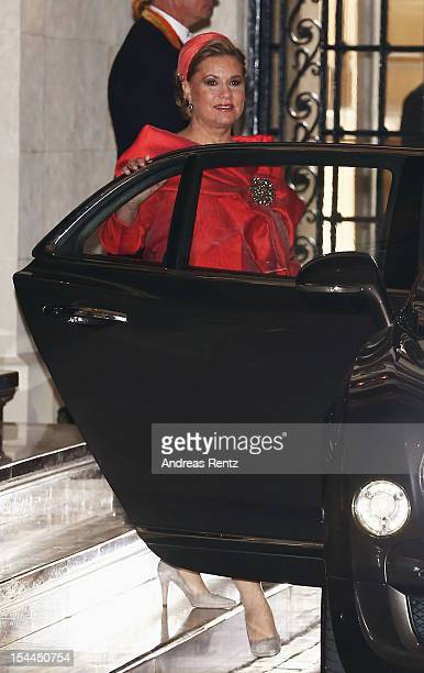Grand Duchess Maria Teresa of Luxembourg departs after the wedding ceremony of Prince Guillaume Of Luxembourg and Princess Stephanie of Luxembourg at...