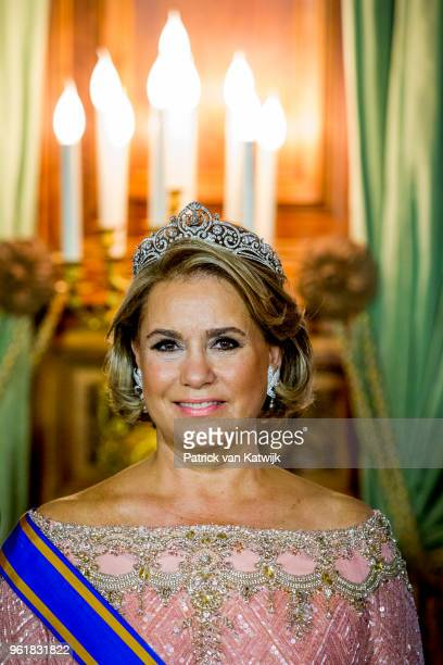 Grand Duchess Maria Teresa of Luxembourg during the official picture at the state banquet in the Grand Ducal Palace on May 23 2018 in Luxembourg...