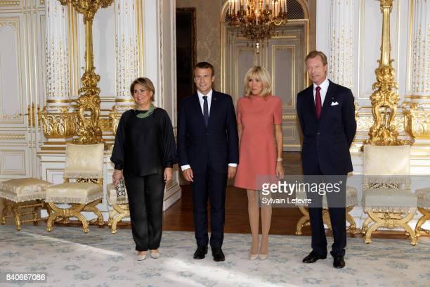 Grand Duchess Maria Teresa of Luxembourg France's President Emmanuel Macron Brigitte MacronTrogneux France's first lady Grand Duke Henri of...