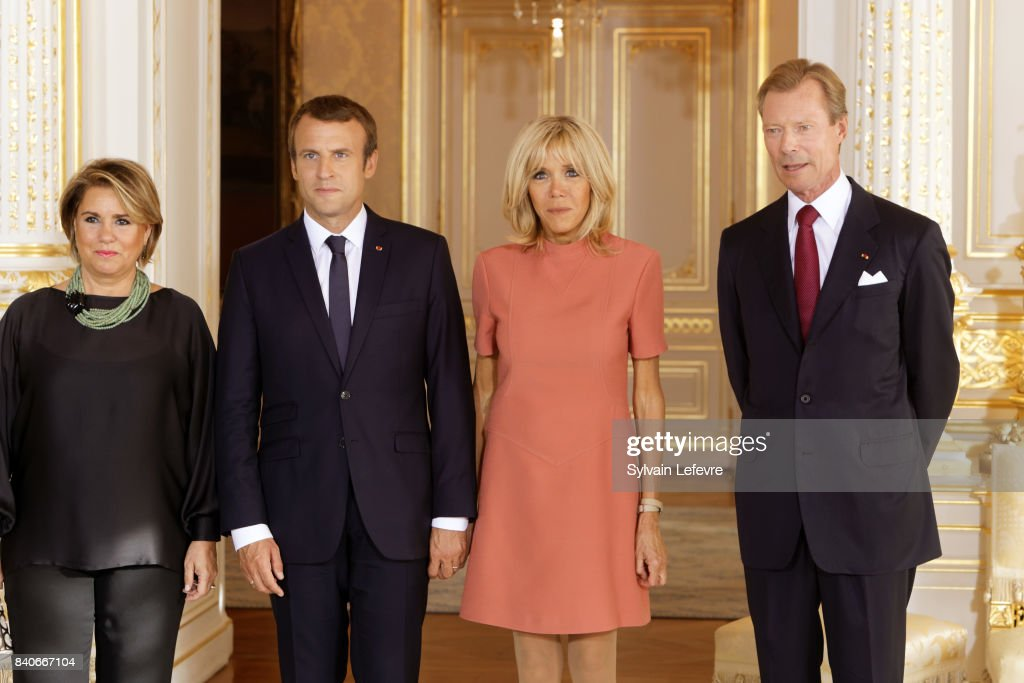 Grand Duchess Maria Teresa of Luxembourg, France's President Emmanuel Macron, Brigitte Macron-Trogneux, France's first lady, Grand Duke Henri of Luxembourg pose for official photo during a one day state visit on August 29, 2017 in Luxembourg, Luxembourg.