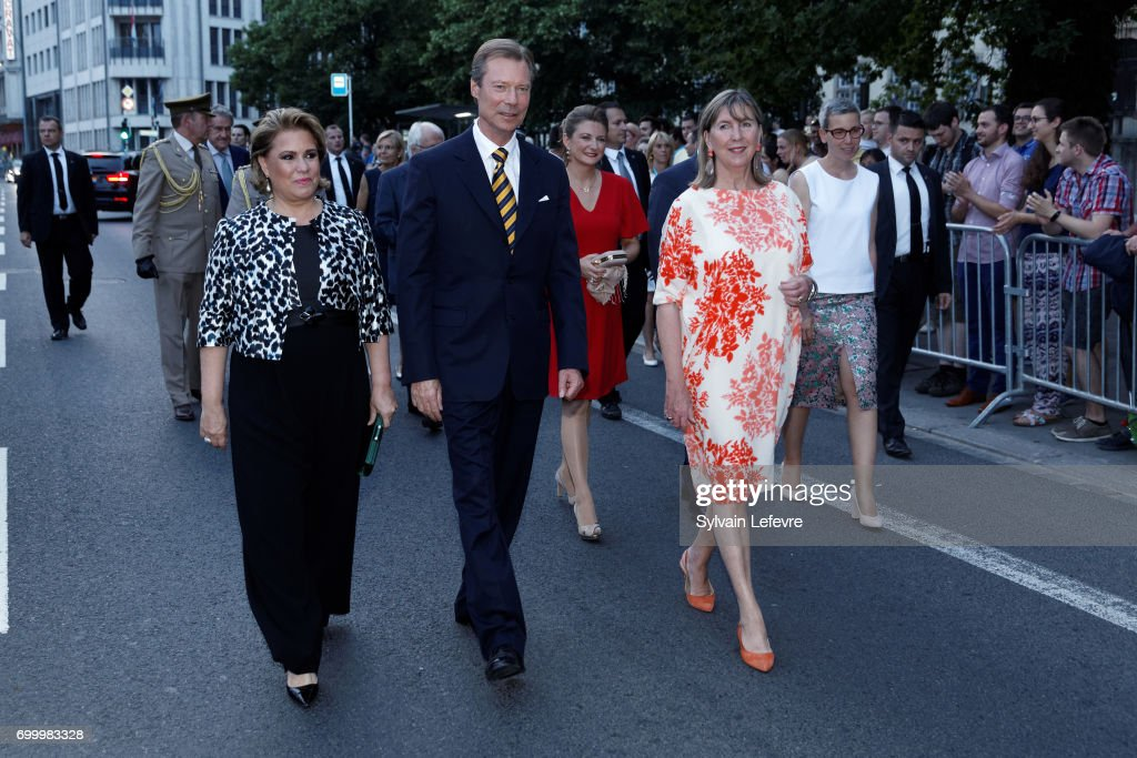 Grand Duchess Maria Teresa of Luxembourg, Grand Duke Henri of Luxembourg and Princess Stéphanie of Luxembourg (3rd L) attend celebrations of National Day on June 22, 2017 in Luxembourg, Luxembourg.