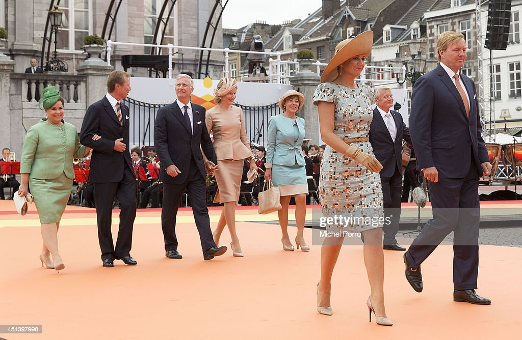 Grand Duchess Maria Teresa of Luxembourg, Grand Duke Henri of Luxembourg, King Philippe of Belgium, Queen Mathilde of Belgium, Daniela Schadt, Queen Maxima of The Netherlands, Joachim Gauck and King Willem-Alexander of The Netherlands attend celebrations marking the 200th anniversary of the kingdom of The Netherlandson August 30, 2014 in Maastricht, The Netherlands.