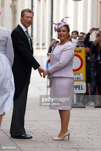 Grand Duchess Maria Teresa of Luxembourg Grand Duke Henri of Luxembourg walk in the street of Luxembourg city after attending Te Deum for National...