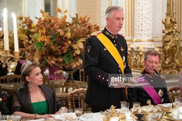 Grand Duchess Maria Teresa of Luxembourg King Philippe of Belgium and Grand Duke Henri of Luxembourg attend the State Banquet on the first day of the...